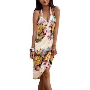 Sfit пляжная одежда, женское бикини, Солнцезащитная шаль, шифоновая пляжная шаль, большой размер, цветочный принт, спагетти, кружевной Сарафан