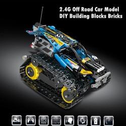 2.4g fora da estrada modelo de carro veículo diy blocos de construção tijolos rc carro de corrida brinquedos