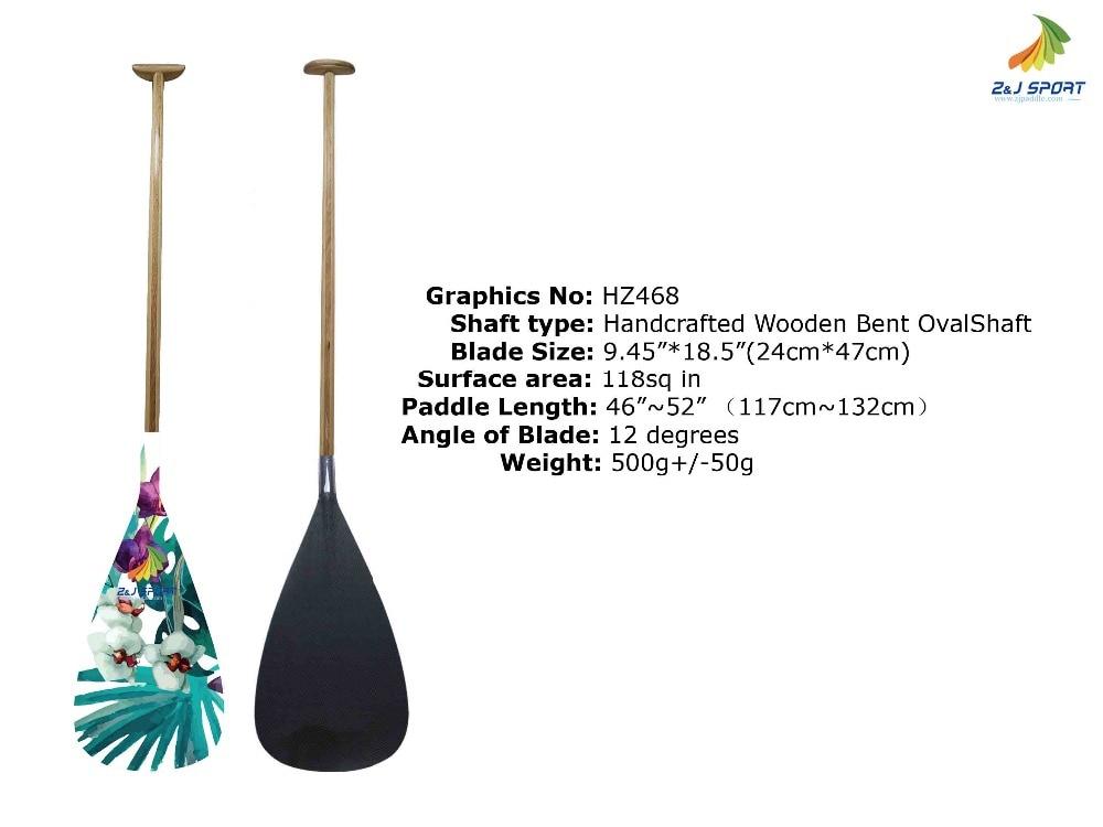 ZJ SPORT Wood Veneer Hybrid Outrigger Canoe Paddle With Wooden Bent Shaft