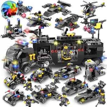 Police Station SWAT  truck model Building Blocks City Policy Helicopter Car Bricks Educational Toy For Children building blocks city police station swat model fire fighting friends fingure bricks educational toys for children