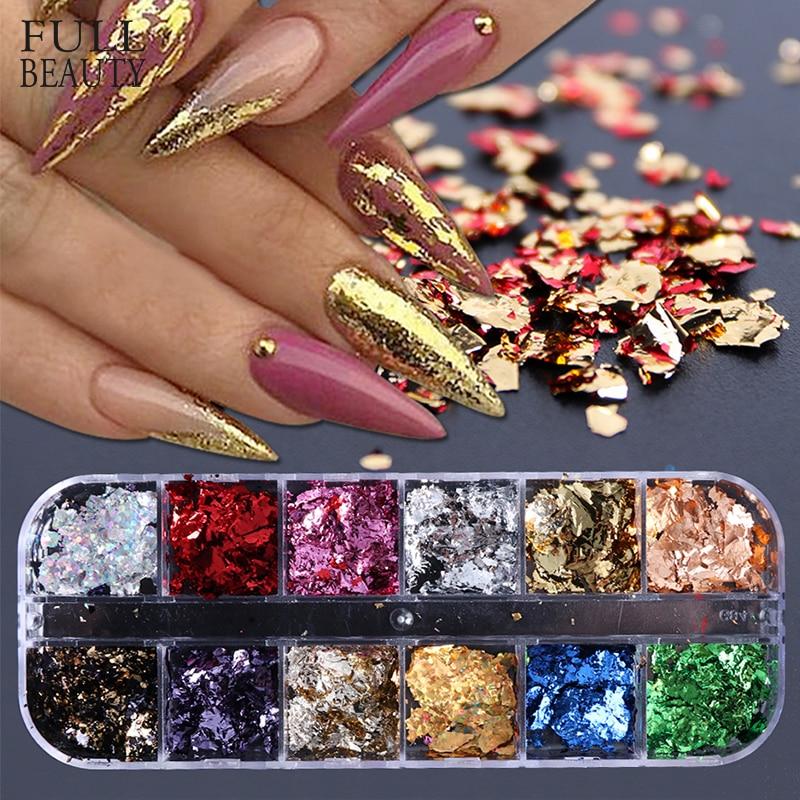 12 Grid Nail Sequins Paillette Aluminum Irregular Flakes Gold Pigment Nail Art Decoration Mirror Glitter Foils Paper CH950-1