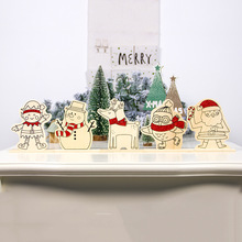 1Set New Year Christmas Wood DIY Hand-painted Xmas Ornaments Childrens Painting Plate Party Decoration Table Decor