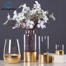 Strongwell European Modern Golden Glass Vase Transparent Cylinder Flower Decoration Home Bottom Honeycomb Simple
