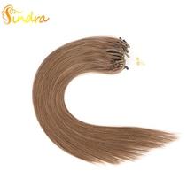 Sindra remy волосы для микро наращивания человеческие волосы на микро кольцах 14-24 дюйма цвет 8 человеческие волосы для наращивания микро