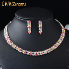 CWWZircons Marquise Cut Cubic Zirconiaหินเจ้าสาวรอบChokerสร้อยคอต่างหูชุดสำหรับงานแต่งงานของผู้หญิงเครื่องประดับT074
