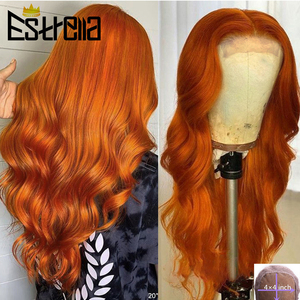 Body Wave Orange Lace Wig Brazilian 4x4 Closure Wigs with Baby Hair Remy Orange Ginger Human Hair Wigs Free Part Pre Plucked