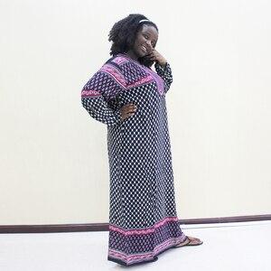 Image 3 - Dashikiage 刺繍アップリケドットルーズロングドレス女性 2019 長袖ヴィドレス