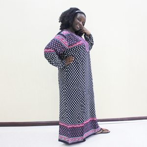 Image 3 - Dashikiage Embroidery Applique Dot Loose Long Dress Women 2019 Long Sleeve Vintage Maxi Dresses