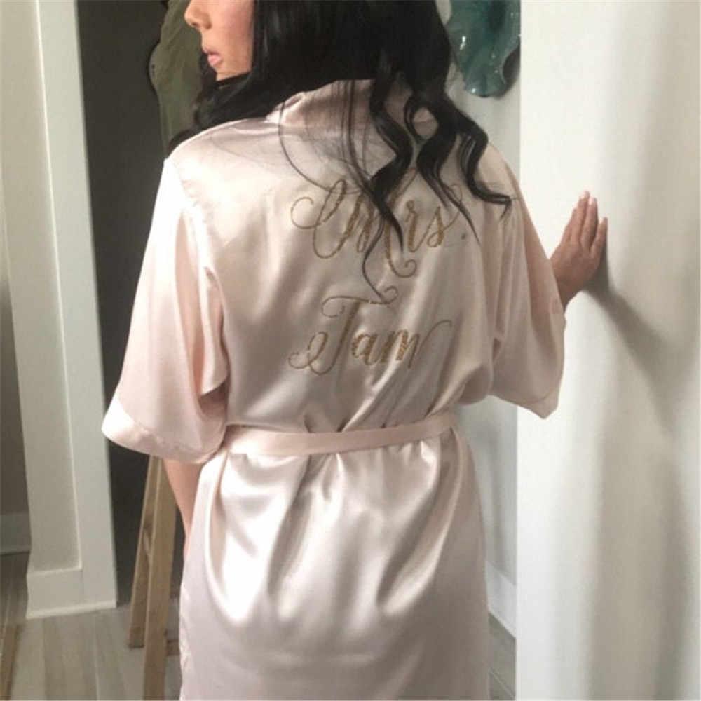 Kustom Glitter Emas Satin Hen Pesta Jubah Blush Pacar Seksi Pegtop Trousers Baju Tidur Bridal Shower Kimono Valentine Hadiah