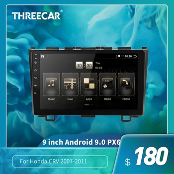 2din Android 9.0 Ouad Core PX6 stereo car radio For Honda CRV 2007-2011 GPS Navi Audio video player Wifi BT HDMI DAB + 4G + 32 image