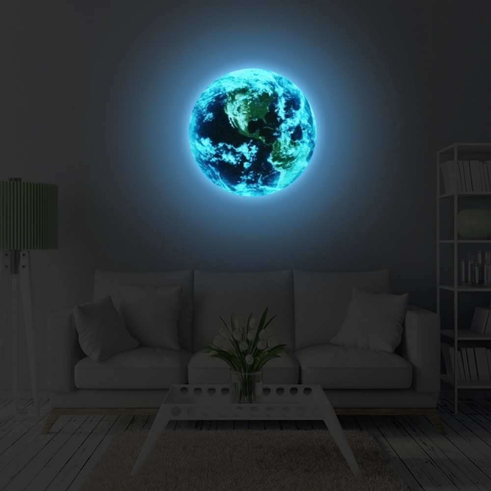 5cm 1PCS Luminous blue earth Cartoon DIY 3d Wall Stickers for kids rooms bedroom wall sticker Home decor Living Room Hot sale