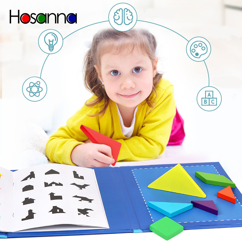 Tangram Book Puzzle Portable Preschool Baby Kids Toys Intelligence Jigsaw Puzzle Wooden Educational Toys For Children