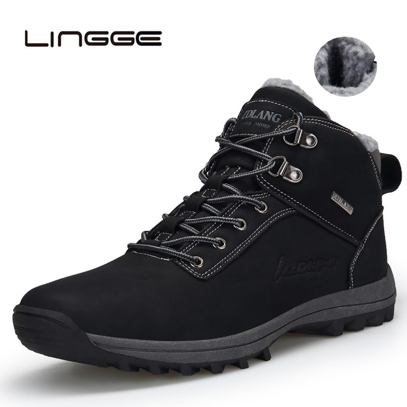 LINGGE Super Warm Men Winter Boots PU Leather Ankle Boots Men Autumn Waterproof Snow Boots Casual Boots Mens Shoes 39-48