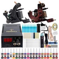 Kit de tatuaje profesional, 2 máquinas, pistolas, 20 piezas tintas permanentes, fuente de alimentación LCD, agarres, maquillaje, arte corporal, conjunto completo de tatuaje
