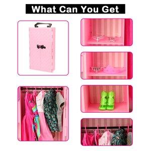 Image 5 - Mode 43 Items/Set Poppenhuis Meubels Speelgoed = Garderobe + 42 Poppen Accessoires Kleding Voor Barbie Ken Game Kerst kinderen Speelgoed