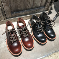 Unisex Handmade Vintage Lace Up New Genuine Leather Platform Men Ring Black Red Ankle Boots Dress Work Casual Motorcycle Boots 0
