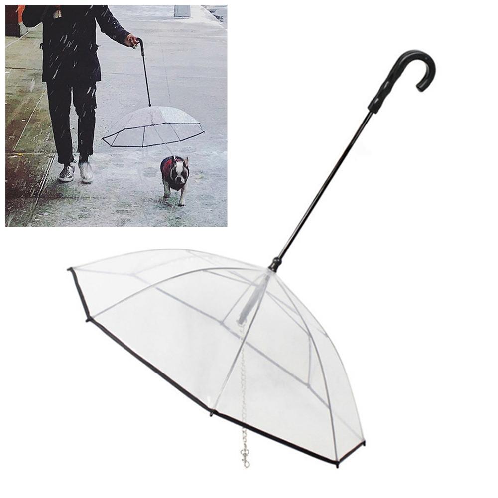 Transparent Pet Umbrellas Dog Pet Rain Proof Pet Supplies Waterproof Clear Cat Dog Walking Umbrella Product