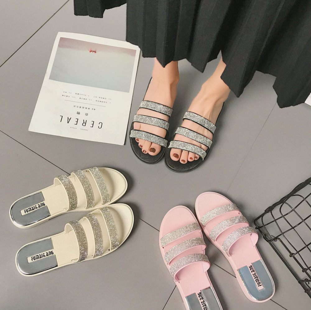 Sequin Sexy Woman Sandals Rhinestones Home Outdoor Bathroom Non-slip Slippers Flip-flops Slippers Slide Flat Slippers