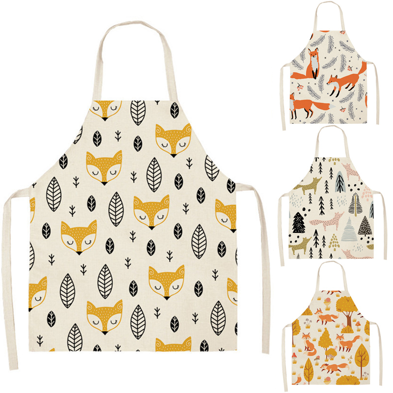 Leaves Fox Cat Pattern Apron Woman Adult Children Bibs Home Cooking Baking Shop Cleaning Apron Kitchen Accessory