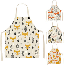 Apron Woman Kitchen-Accessory Baking Home-Cooking Children Bibs Shop Cat-Pattern Adult