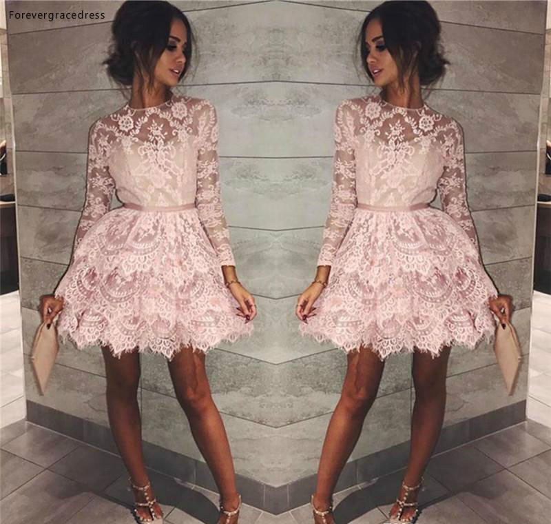 2019 Cheap Cocktail Dress A Line Long Sleeves Lace Appliqued Short Mini Semi Club Wear Homecoming Party Gown Plus Size
