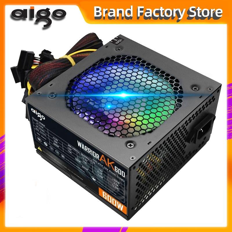 Aigo Fan PSU Power-Supply Computer Gaming Pc ATX 24pin SATA AK600 Silent Max 600w 12V