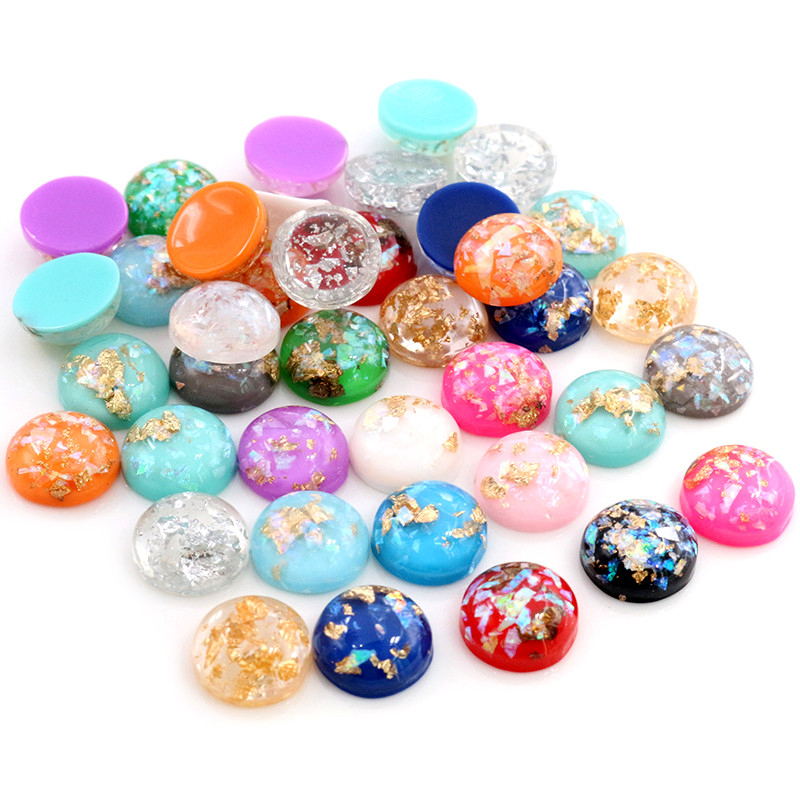 New Fashion 40pcs 12mm 8mm 10mm Mix Colors Built-in Metal Foil Flat Back Resin Cabochons Cameo