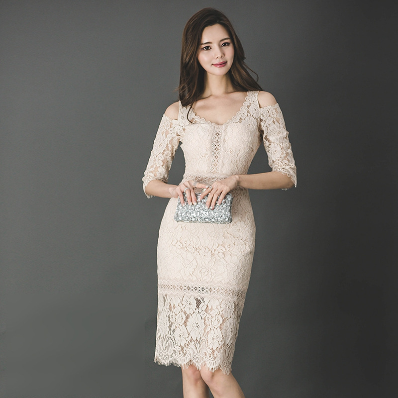 BacklakeGirls Elegant Lace Cocktail Dress Half Sleeve Slim Sexy V-Neck Bodycon Club Women Gown Ladies Party Dresses