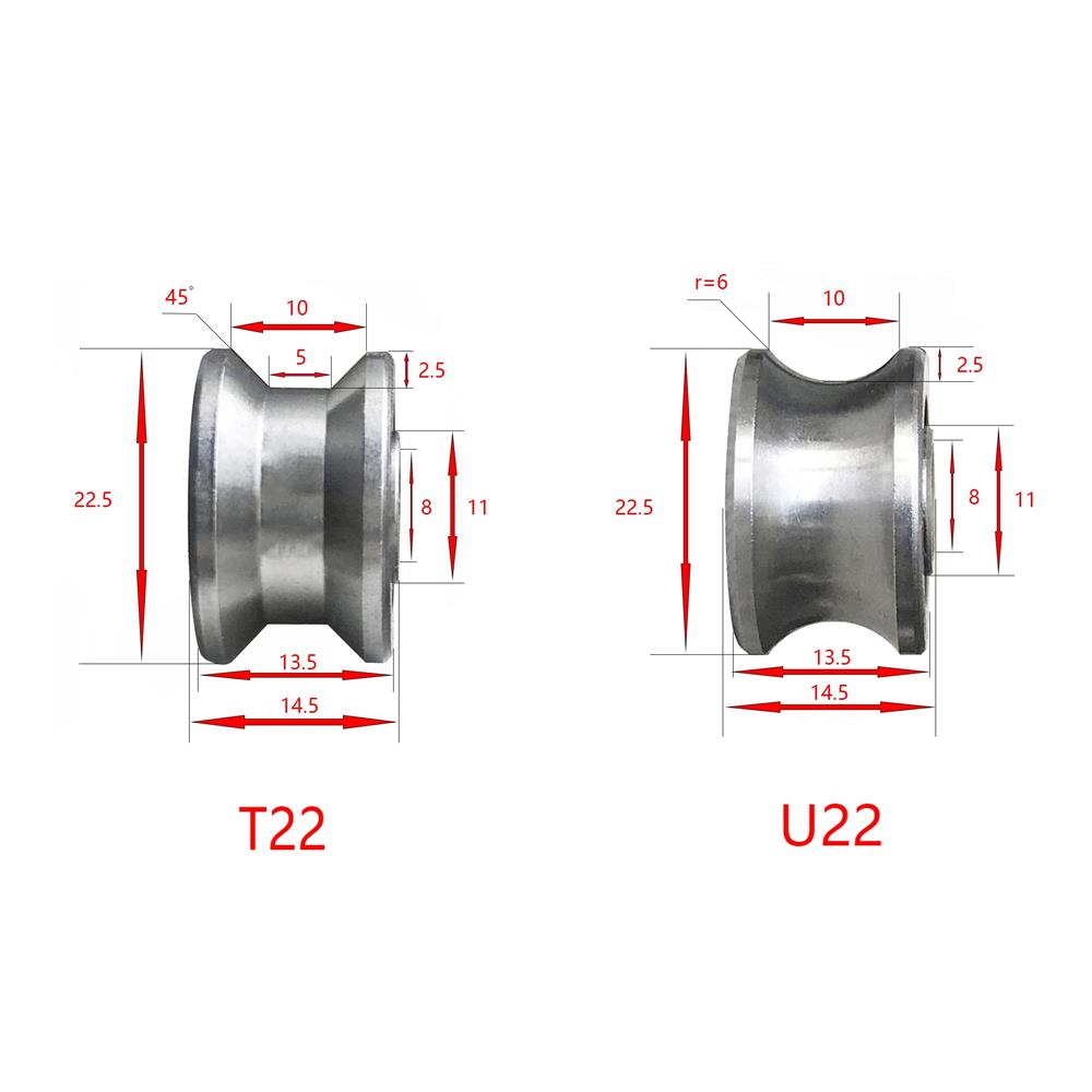 10PCS U22 T22 Traces Walking Guide Rail Track Roller Bearing 8x22.5x14.5x13.5mm