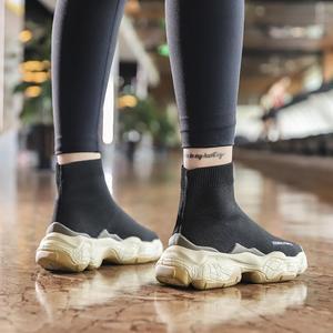 Image 4 - SWYIVY גרב סניקרס נשים 2019 חדש סתיו סריגה שחור סניקרס נקבה נעליים יומיומיות נעלי טריזים נשים קרסול מגפי לבן