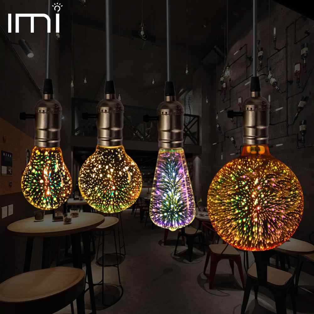 3D Led Bulb Star E27 Vintage Edison Night Light Colorful Bombillas Retro Glass Lampara Ampoule Christmas Home Decor firework RGB