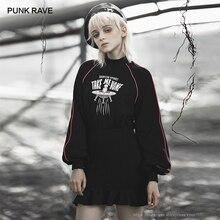 PUNK RAVE kız Punk tarzı yabancılar beni eve götür baskılı uzun kollu Flounced Wrap elbise kadınlar Casual siyah elbise