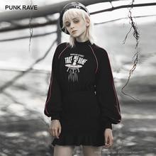 Punk Rave Meisje Punk Stijl Aliens Take Me Home Gedrukt Lange Mouwen Volants Wrap Jurk Vrouwen Casual Zwarte Jurk