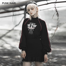 Punk rave menina estilo punk alienígenas me levar para casa impresso manga comprida flounced wrap vestido feminino casual vestido preto