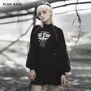 Image 1 - 펑크 레이브 소녀의 펑크 스타일 외계인 집에 데려다 인쇄 긴 소매 flounced 랩 드레스 여성 캐주얼 블랙 드레스