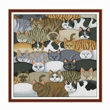 Animal painting cute cat group cross stitch kit Aida 14ct an