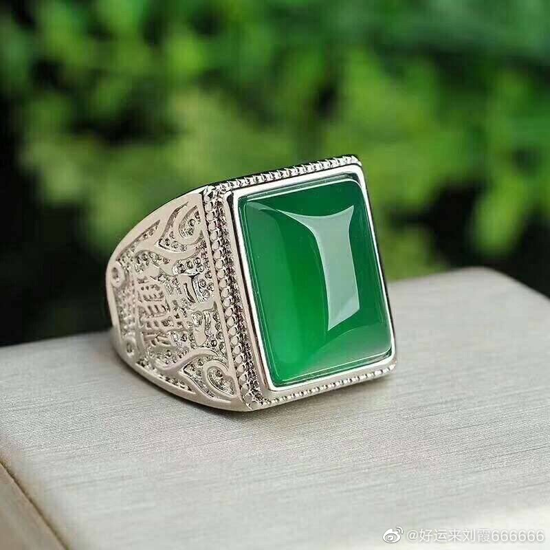 Vintage Silver 925 Ring Men Handmade Open Natural Green Jade Emerald Party Wedding Engagement Rings Gemstone Fine Jewelry Gifts