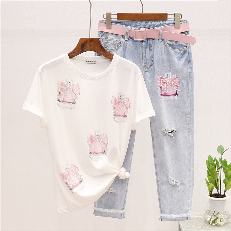 Summer Outfits Female Handwork Beading Bottle Print T-shirt + Hole Denim Pants Women 2pc Loose Tee Shirt + Jeans Two Piece Set