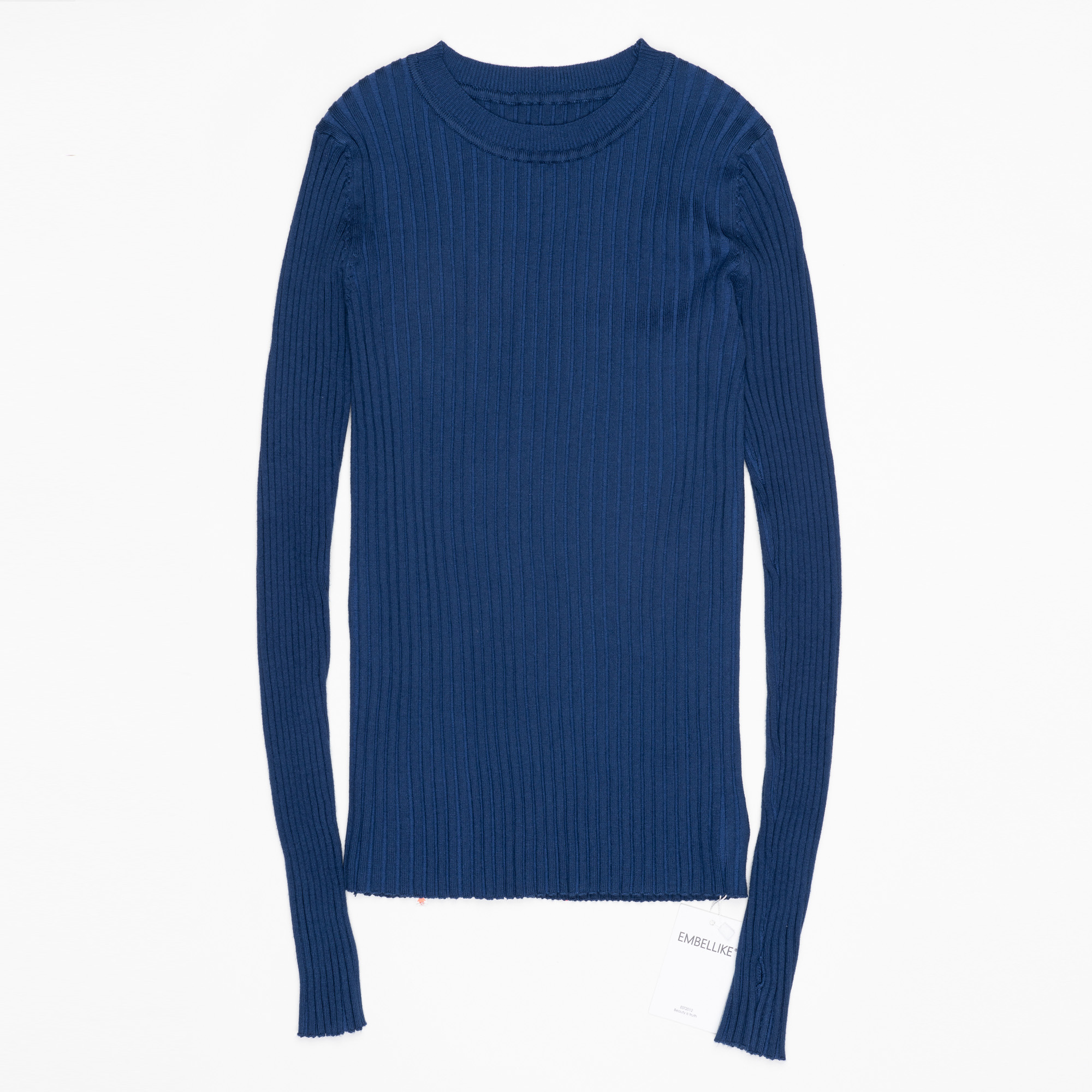 Women Sweater Pullover Basic Ribbed Sweaters Cotton Tops Knitted Solid Crew Neck With Thumb Hole 9