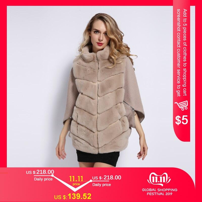 Palácio de inverno 2019 casaco de pele de coelho de inverno das mulheres bat gola cashmere costura mangas manga curta jaqueta rea casaco de pele