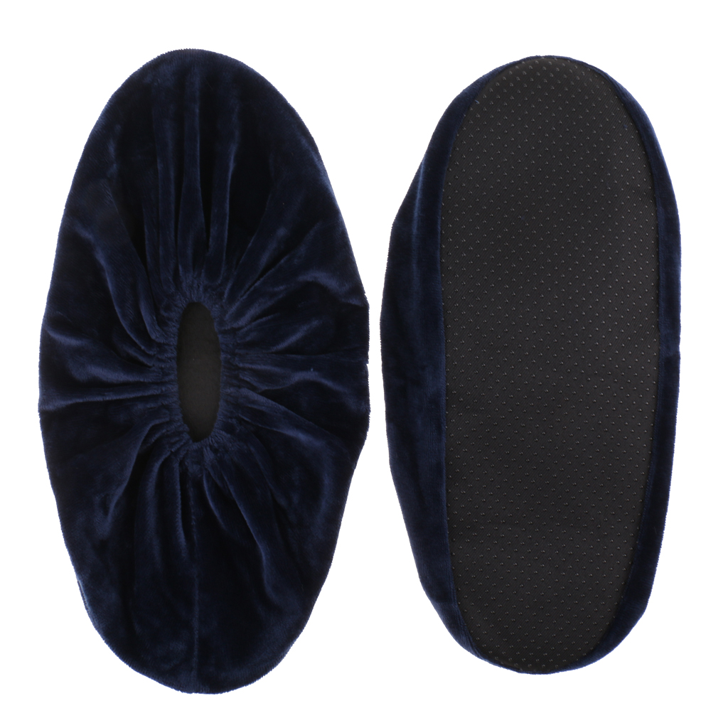 2 x Washable Slip-on Reusable Shoe Covers Boot Overshoes for Household Navy