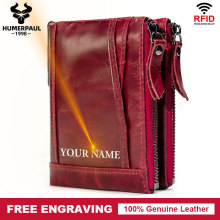 Free Engraving 100% Genuine Leather Women Wallet Female Coin