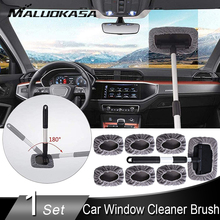 Car Window Cleaner Brush Window Washer Windshield Glass Cleaning Tool Auto Glass Wiper Extendable Handle 7PCS Microfiber Cloth