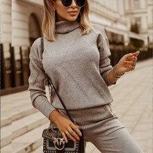 Malha conjunto de duas peças sweatshirts gola alta + calça 2 peça conjunto outono inverno malha treino feminino conjuntos esportivos roupas casuais