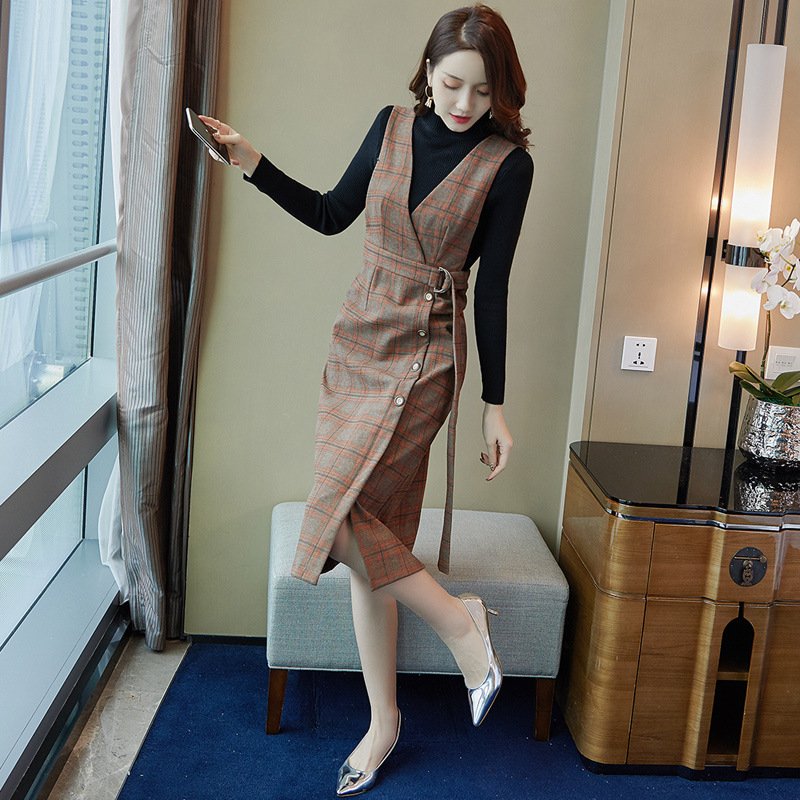 Fashion WOMEN'S Dress Autumn And Winter 2019 New Style Korean-style Fresh And Sweet Long Sleeve Sweater Medium-length Skirt Two-