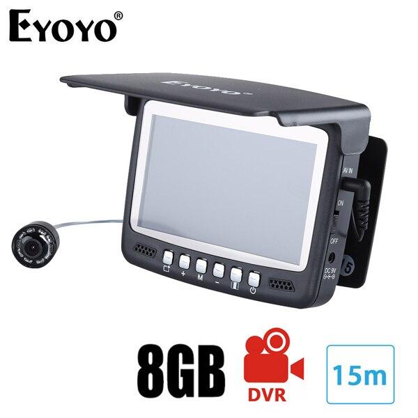 Самый! Eyoyo 15м камера рыбоискатель подводная рыбалка 1000TVL подледный лов запись видео DVR 8 инфракрасные светодиоды+солнцезащитный козырекr+ 4G TF карта - Цвет: 15M Cable with DVR