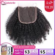 אפרו קינקי מתולתל סגירת תחרה שוויצרית צבע טבעי ברזילאי שיער טבעי 4x4 סגירת תחרה 10 18 inch רמי שיער גבריאל