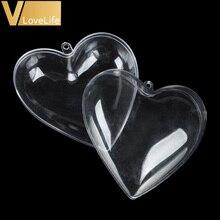 20 Pcs/Lot clair coeur forme boule de noël en plastique acrylique artisanat décoration de noël Transparent babiole cadeau de mariage arbre de noël