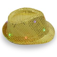 1 LED Light Up Sequin Fedora Hoeden Zaklamp Jazz Dans Hoeden Voor Mannen Vrouwen Party Club Hoeden Supplies(China)