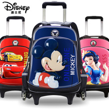 Authentic Disney Children's Schoolbag Primary School 6-12 Years Old Mickey Princess Double Shoulder Trolley Roller Backpack